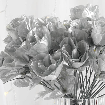 12 Bush 84 Pcs Silver Artificial Silk Rose Bud Flowers