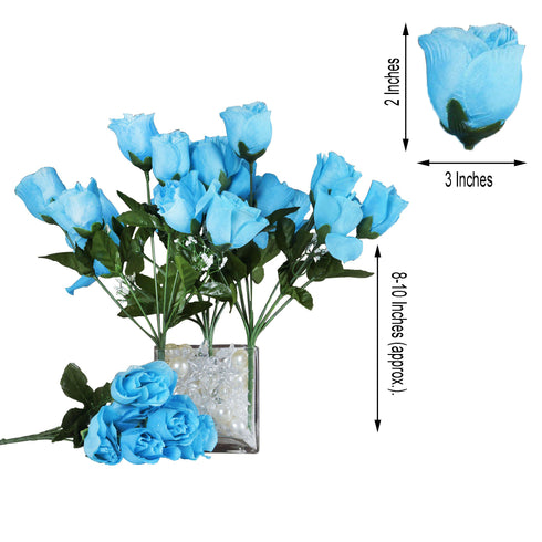 12 Bush Turquoise 84 Rose Buds Real Touch Artificial Silk Flowers