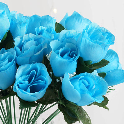 12 Bush 84 Pcs Turquoise Artificial Silk Rose Bud Flowers Wedding Bouquet Centerpiece Decoration