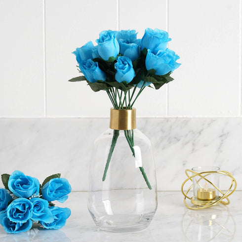 84 Artificial Silk Rose Buds - Turquoise