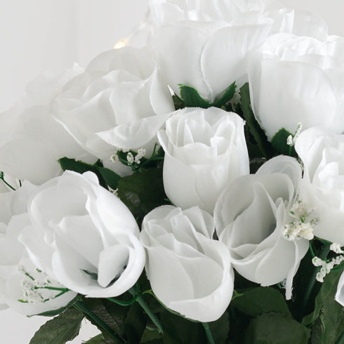 12 Bush White 84 Rose Buds Real Touch Artificial Silk Flowers