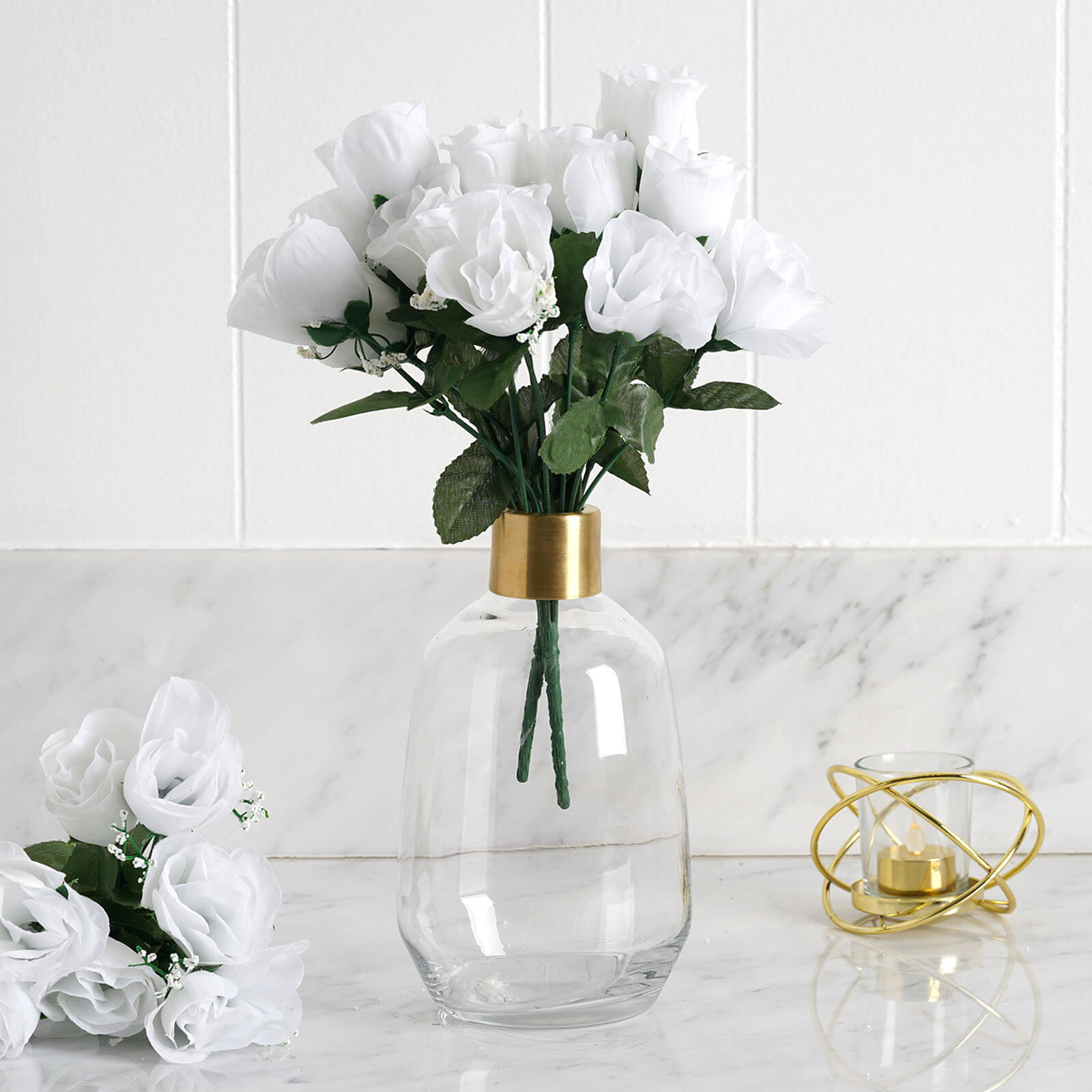 White 12 Bushes With 84 Artificial Rose Flower Buds Wedding