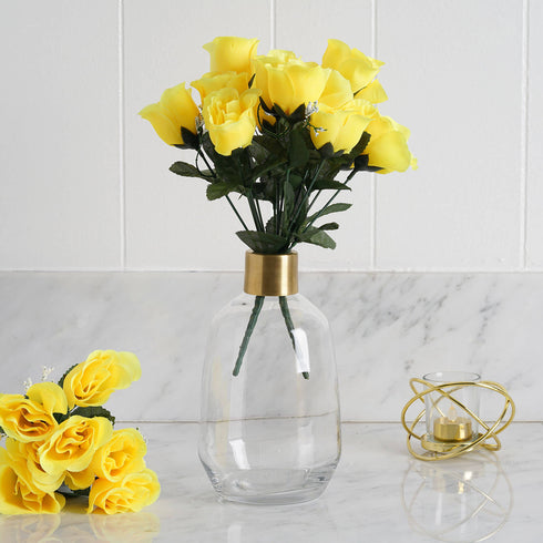 12 Bush Yellow 84 Rose Buds Real Touch Artificial Silk Flowers