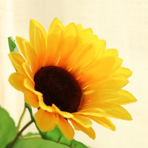 5 Bushes | 45 Artificial Yellow Silk Sunflowers