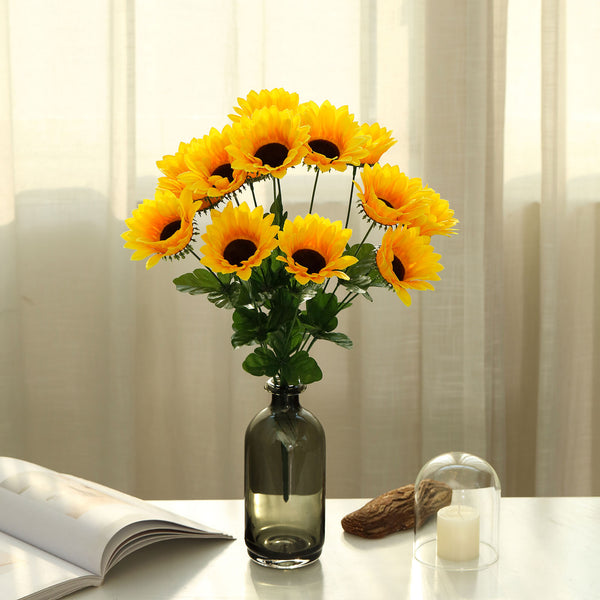 5 Bushes 70 Artificial Yellow Silk Sunflowers Vase