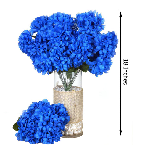 4 Bush 56 pcs Royal Blue Artificial Silk Chrysanthemum Flowers