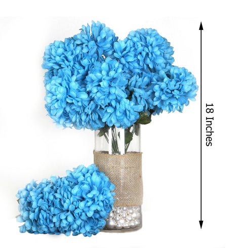 4 Bush 56 pcs Turquoise Artificial Silk Chrysanthemum Flowers