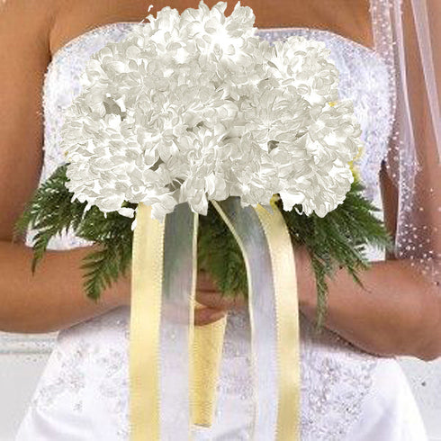 4 Pack White Artificial Silk Chrysanthemum Flower Bridal Bouquet