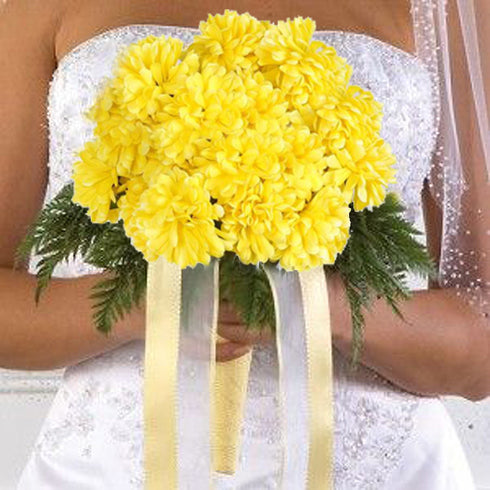 4 Pack Yellow Artificial Silk Chrysanthemum Flower Bridal Bouquet