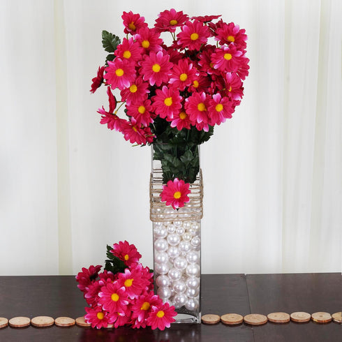 4 Pack 88 Pcs Fushia Artificial Silk Daisy Flowers