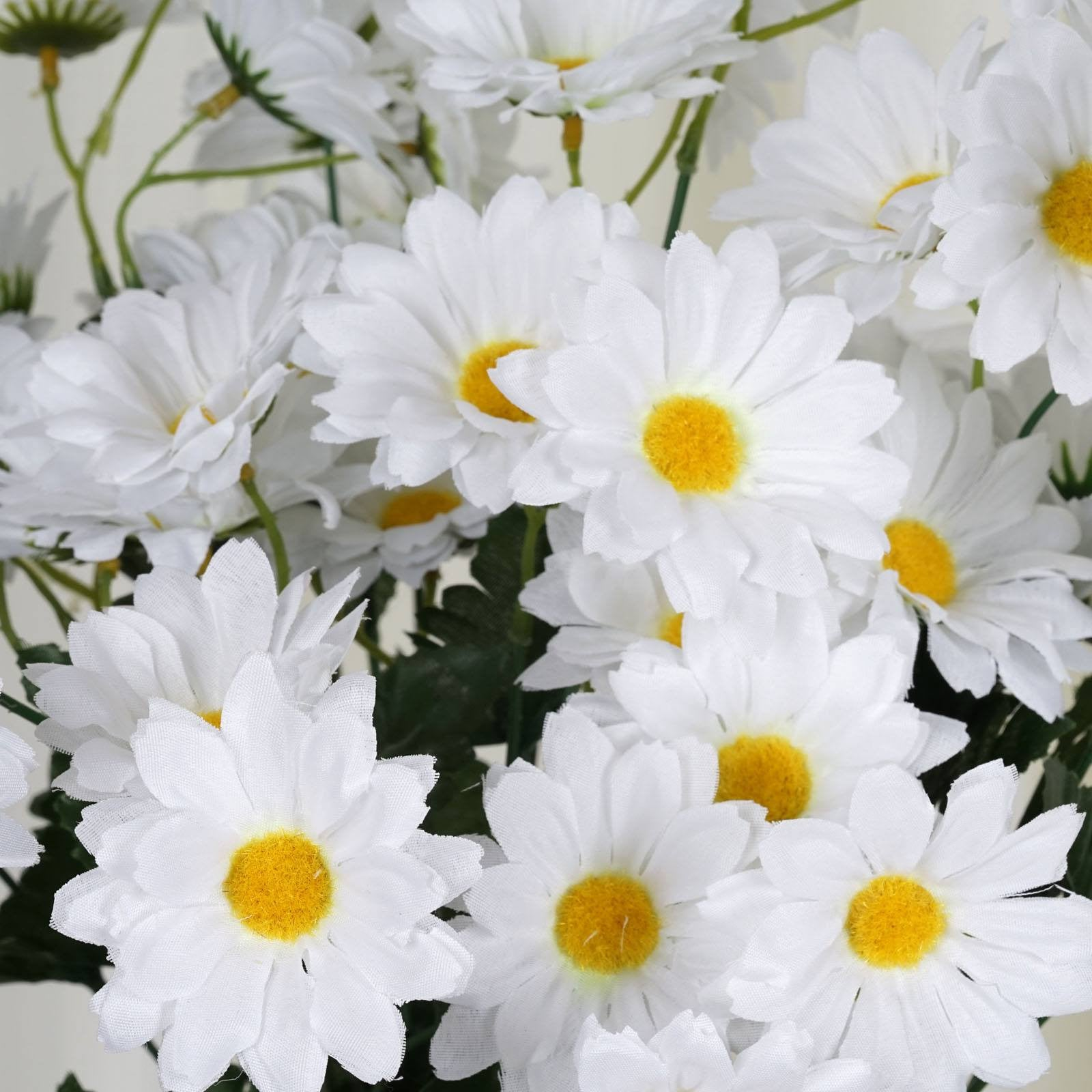4 Pack 88 Pcs White Artificial Silk Daisy Flowers Wedding Vase