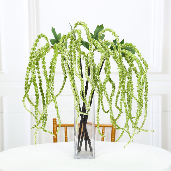 "Pack of 2 - 32"" Green Amaranthus Artificial Flower Stem With Ivy Leaves"