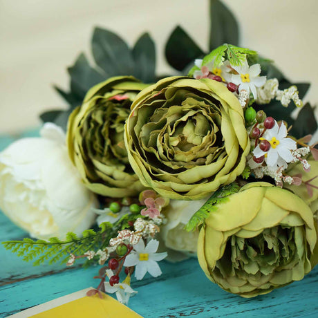 reputable site e7500 497a8 2 Bushes   14 Pcs Green Ivory Peony Artificial Silk Flower Bouquets