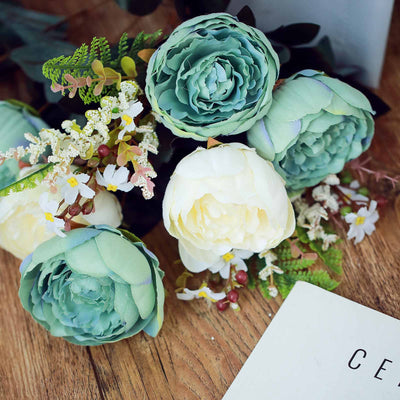 2 Bushes | 14 Pcs Multicolors Peony Artificial Silk Flower Bouquets