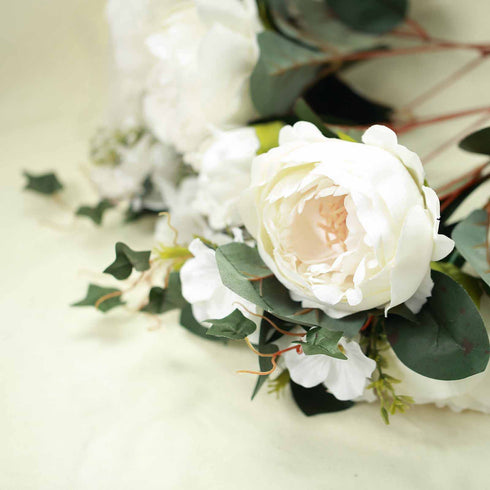 2 Bush Ivory Peony, Rose Bud And Hydrangea Real Touch Artificial Silk Flower Bouquets