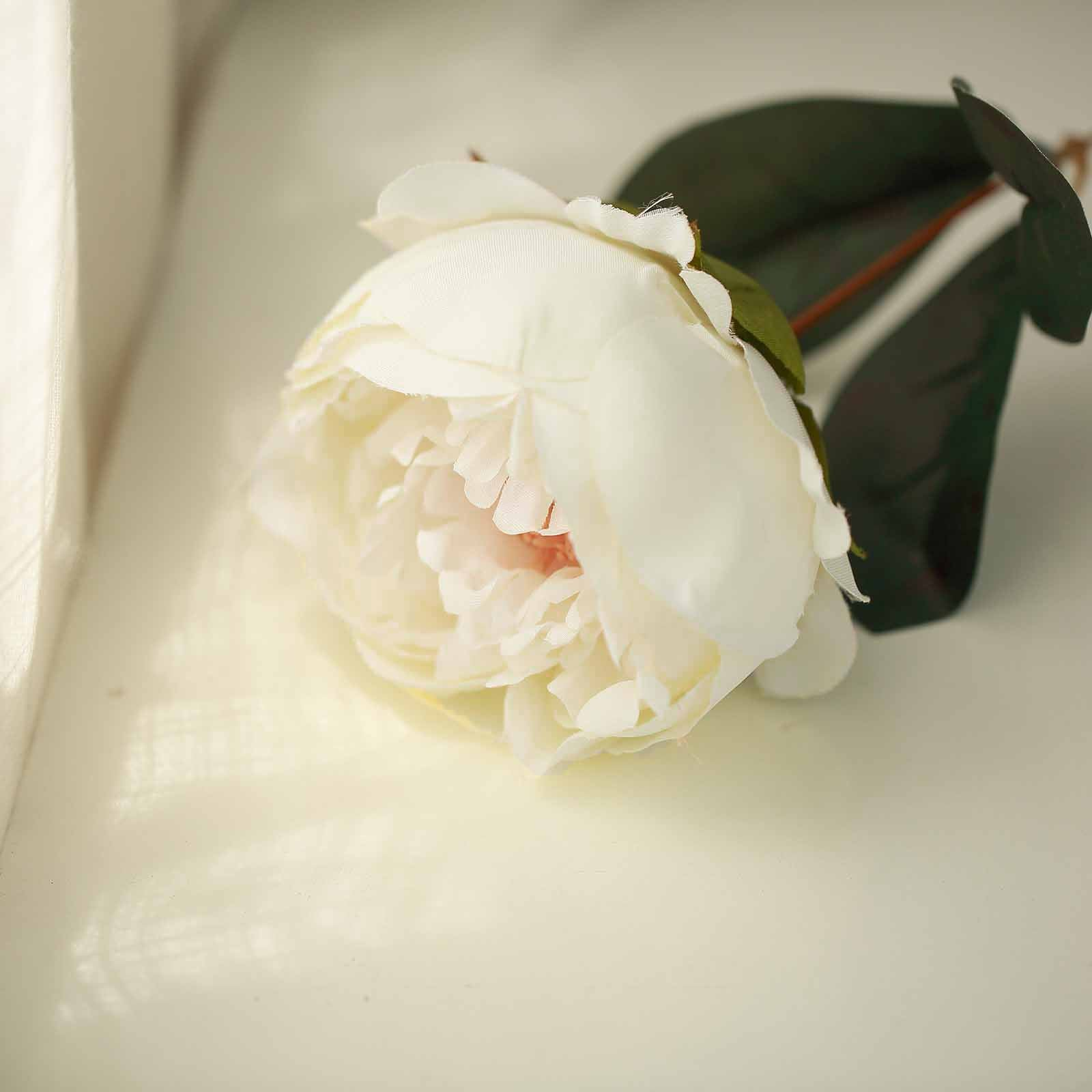 2 Bushes Ivory Peony Rose Bud And Hydrangea Artificial Silk Flower