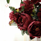 2 Bushes Burgundy Peony, Rose Bud And Hydrangea Artificial Silk Flower Bouquets