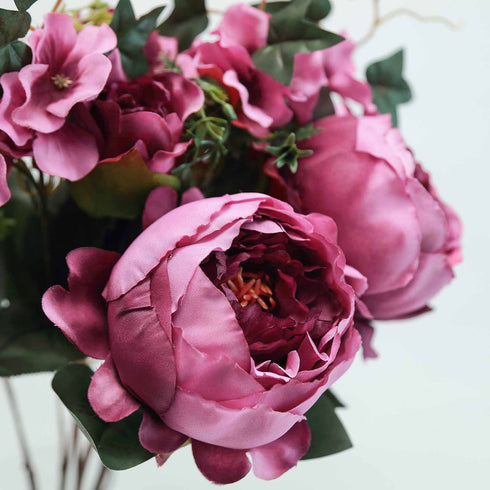 2 Bushes Light Purple Peony, Rose Bud And Hydrangea Artificial Silk Flower Bouquets