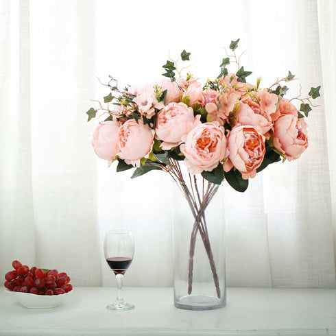 2 Bush Blush | Rose Gold Peony, Rose Bud And Hydrangea Real Touch Artificial Silk Peonies Bouquet