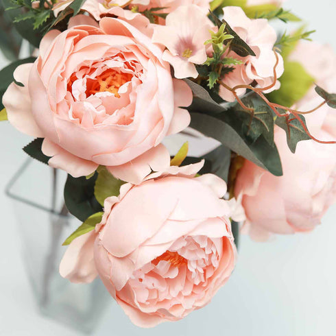 2 Bushes Blush Peony, Rose Bud And Hydrangea Artificial Silk Flower Bouquets