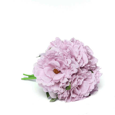 "5 Heads | 11"" Tall Artificial Peony Bouquet - Dusty Rose 