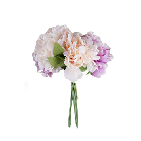 "5 Heads | 11"" Tall Artificial Bush Peony Bouquet - Blush 