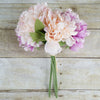 "5 Heads | 11"" Tall Artificial Peony Bouquet Blush Pink 
