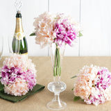 5 Bushes | 11'' Tall Dual Tone Peony Artificial Silk Flowers - Blush/Pink