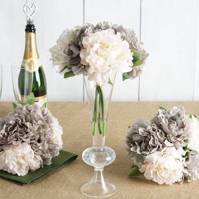 5 Bushes | 11'' Tall Dual Tone Peony Artificial Silk Flowers - Mauve/Beige