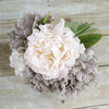 "5 Heads | 11"" Tall Artificial Bush Peony Bouquet - Dusty Rose 