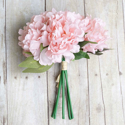 "5 Bushes 11"" Tall Pink Artificial Silk Peony Flowers"