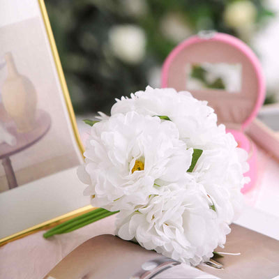 "5 Heads | 11"" Tall Artificial Peony Bouquet White 