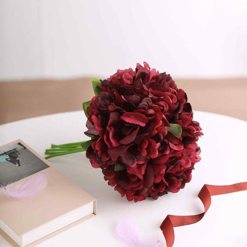 "5 Heads | 11"" Tall Artificial Peony Bouquet Wine 