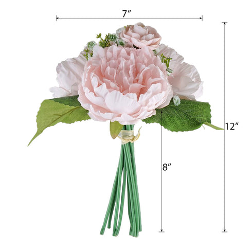 12'' Tall Blush Artificial Peony Silk Flowers Bouquet
