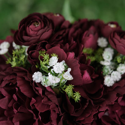 12'' Tall Burgundy Artificial Peony Silk Flowers Bouquet