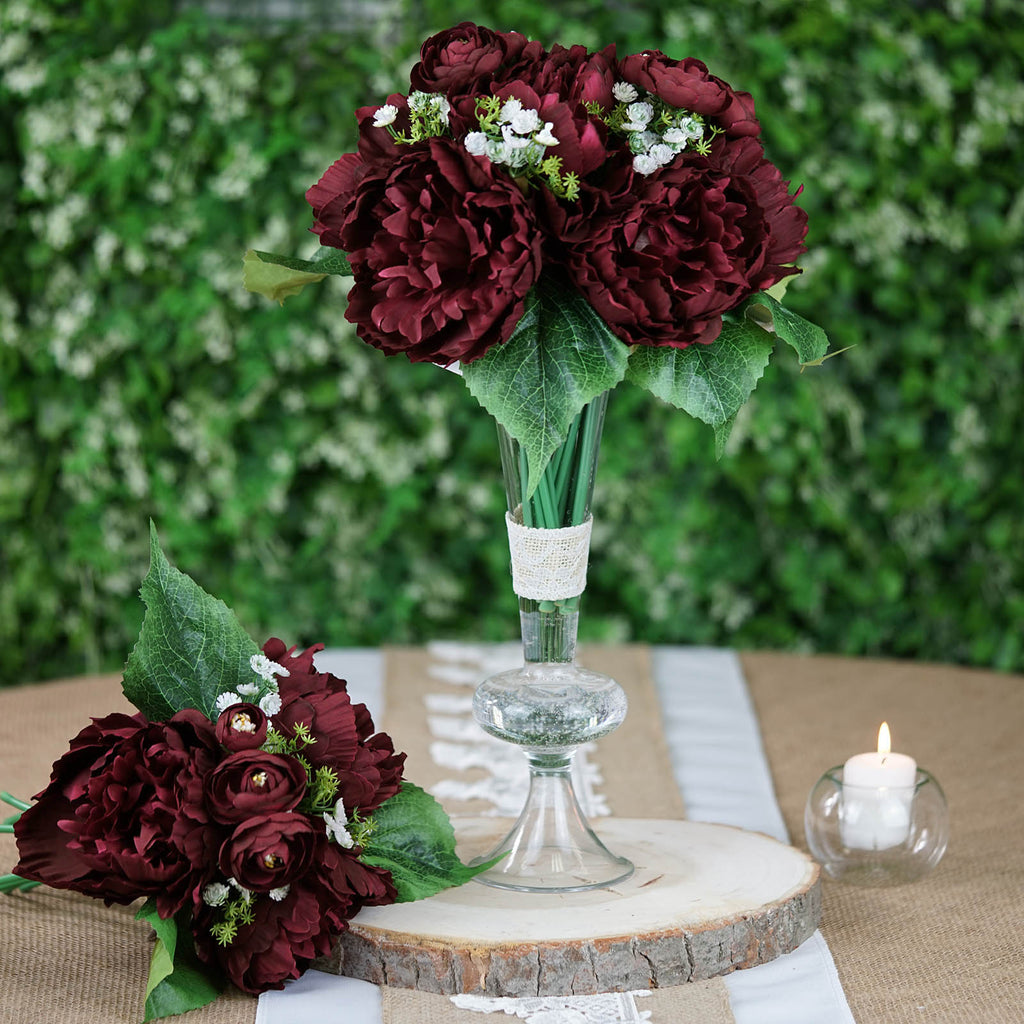 6x Artificial Burgundy Peony Flower Heads Occasions Wedding Party Home Decor
