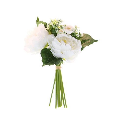12'' Tall White Artificial Peony Silk Flowers Bouquet