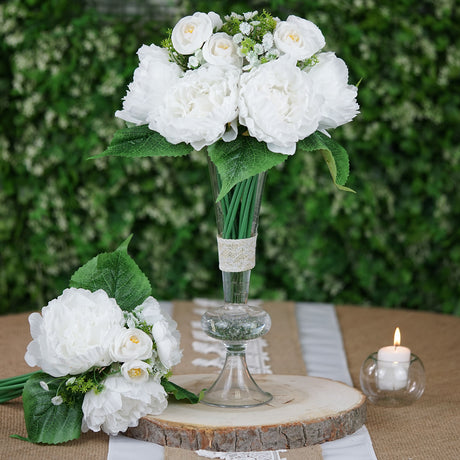 new style 9ce63 9faba 12   Tall White Artificial Peony Silk Flowers Bouquet