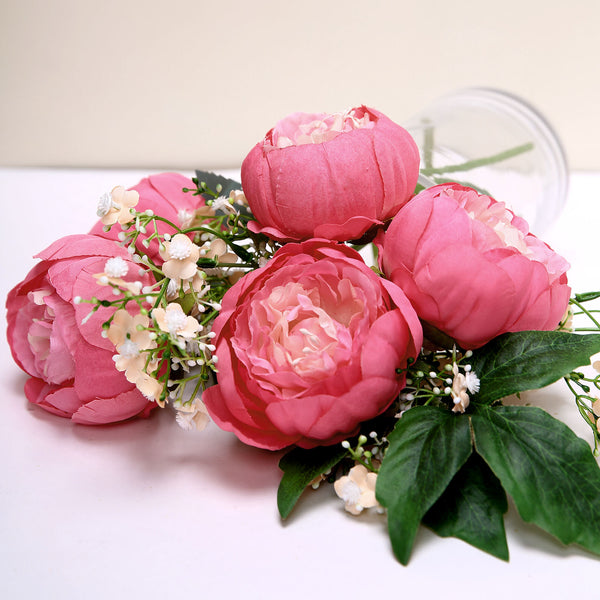 "10 Pack | 3"" Silk Peony Flower Heads, Artificial Peonies For Flower Arrangement - Fushia"