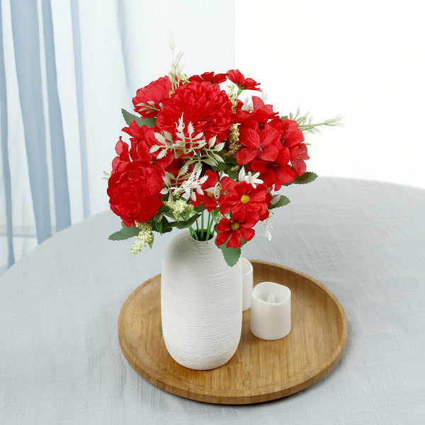 "2 Pack | Red Silk Peony Bouquet, Assorted Artificial Flowers For Vases - 12"" Tall"