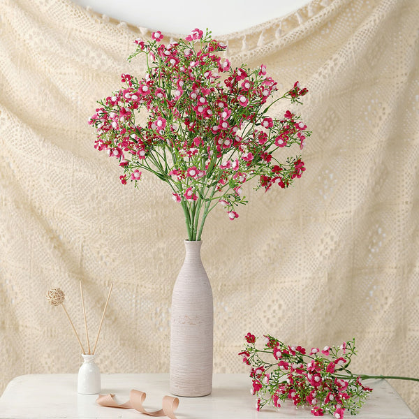 "4 Pack | 27"" Fushia Babys Breath Artificial Flowers, Gypsophila Real Touch Silk Flowers Stem"