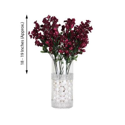 12 Bushes Burgundy Artificial Silk Baby Breath Flowers