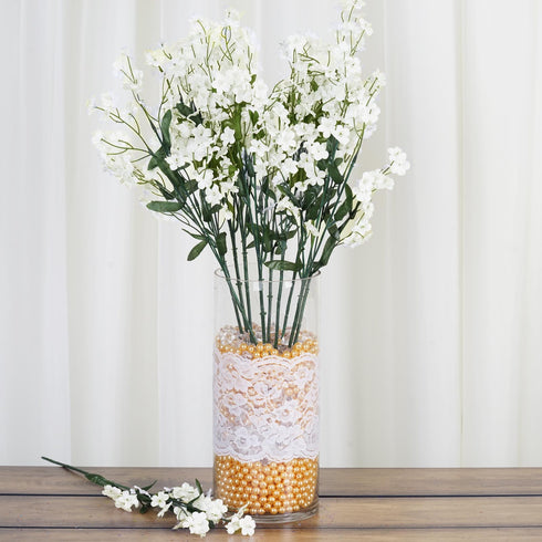 12 Bushes Ivory Artificial Silk Wholesale Baby Breath Flowers