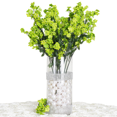 12 Bushes Lime Artificial Silk Baby Breath Flowers