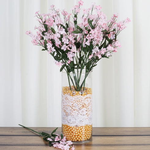 12 Bushes Pink Artificial Silk Baby Breath Flowers