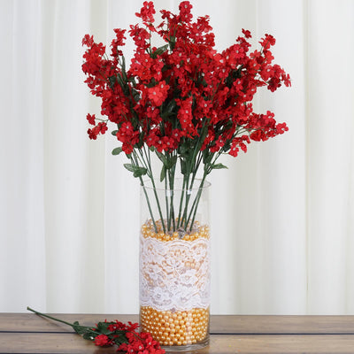 12 Bushes Red Artificial Silk Baby Breath Flowers