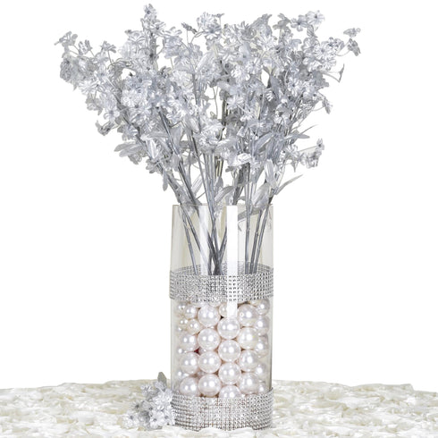 12 Bushes Silver Artificial Silk Wholesale Baby Breath Flowers