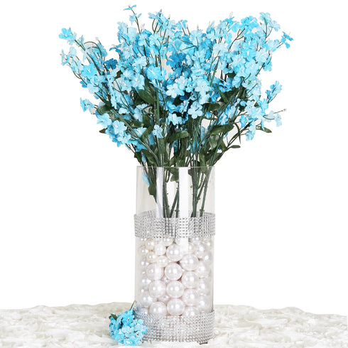 12 Bushes Turquoise Artificial Silk Baby Breath Flowers