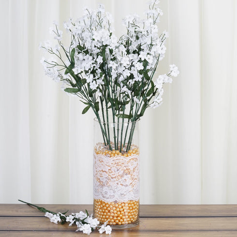 12 Bushes White Artificial Silk Baby Breath Flowers