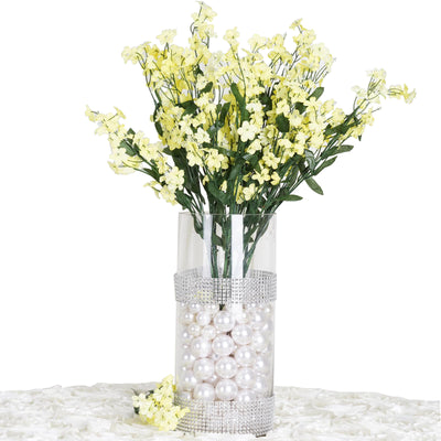 12 Bushes Yellow Artificial Silk Baby Breath Flowers